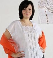 Льняная блузка с вышитым воротничком! 2012!