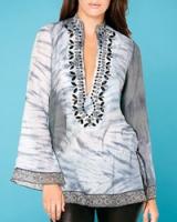 Туника Cabana Grey Silk Chiffon Long Sleeve