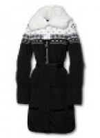 Элегантное зимнее пальто с фактурной вышивкой в виде орнамента