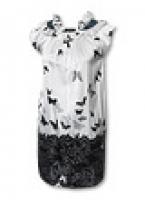 Короткое шелковое платье в бабочках с кристаллами Swarovski