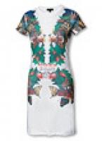 Платье с крупным принтом - бабочки, цветы и листья