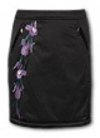 Утепленная стильная юбка с красивой вышивкой и боковыми карманами